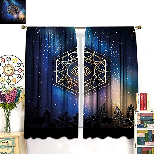Sacred Geometry Blackout Curtain Hexagon Form with The Eye Icon in The Centre on Starry Night Mystic Image Room Darkening Curtains Gold Blue W72 x L72 ()