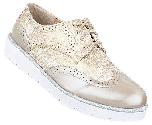 Damen Halbschuhe Schuhe Schnürer Elegant Schwarz Gold Silber 36 37 38 39 40 41 Gold