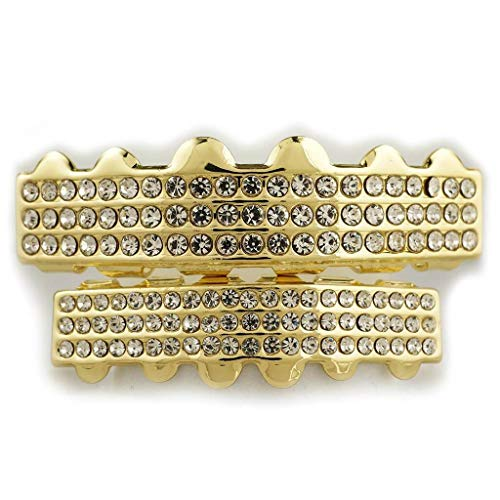 (NIV'S BLING - 14K Yellow Gold-Plated Iced Out 3 Row 6 Tooth Grillz Set)