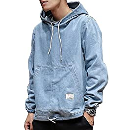 Heless-Men Drawstring Classic Solid Color Denim Hoodie Sweatshirt Pullover