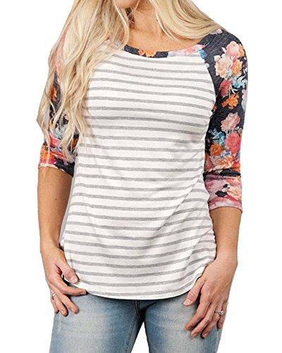 KufvWomens Prints Florals 3/4 Sleeve Crew Neck Top Tshirt (L, Flora+Stripes)