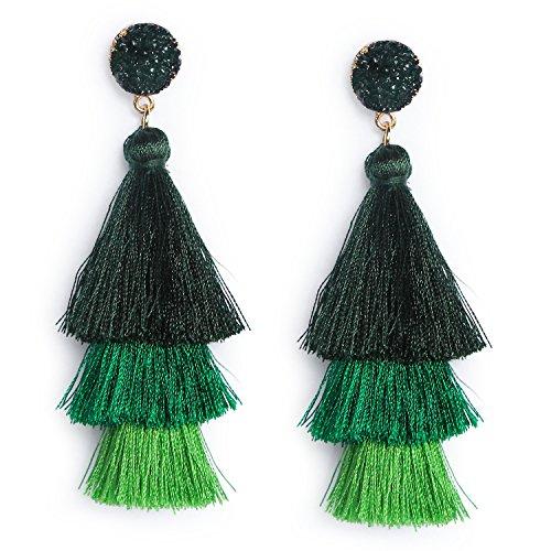 Dark Green Tassel Earrings Dangle Drop Tiered Thread Fringe Tassel Earrings for Women Girls Christmas Tree Forest Green Festival Jewelry Gifts