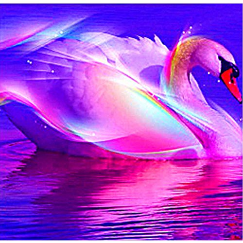 5D Diamond Painting Full Drill Kit, Multi-colored Swan 12x12 inch Embroidery Rhinestone Cross Stitch Arts Craft Canvas for Home Wall Decoration