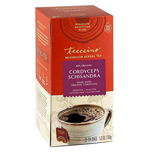 Teeccino Mushroom Adaptogen Herbal Tea – Cordyceps Schisandra Cinnamon Berry – Support Your Health with Mushrooms…