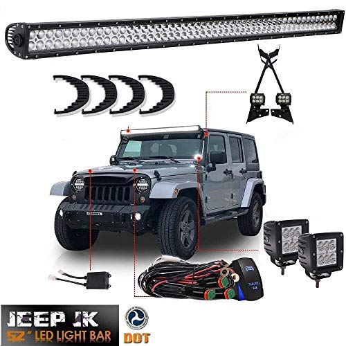 TURBOSII DOT For 2007-2017 Jeep Wrangler JK Offroad 52″Inch Led Light Bar Osram Chips w/Upper Roof Windshield Lower Corner Mounting Brackets + 2PCS 4″ Driving Fog Lights + DT Plug Wires Rocker Switch