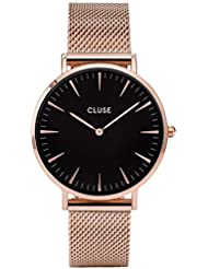 Cluse Womens La Boheme 38mm Rose Gold-Tone Steel Bracelet Metal Case Quartz Black Dial Watch CL18113