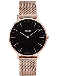 Womens La Boheme 38mm Rose Gold-Tone Steel Bracelet Metal Case Quartz Black Dial Watch · CLUSE