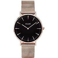 CLUSE La Bohème Mesh Rose Gold Black CL18113 Women's Watch 38mm Stainless Steel Strap Minimalistic Design Casual Dress Japanese Quartz Elegant Timepiece