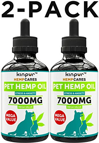 Kinpur (2 PACK | 7000MG) Hemp Oil for Dogs & Cats - Anxiety Relief for...