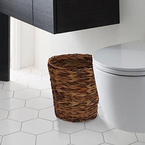 Wicker Recycling Bin Stylish Round Designer Trash Can Made of Natural Wicker Hand-Woven and Protectively Coated to Preserve the Natural Fibers Blended Decorative Weave with Protective Coating Brown ()
