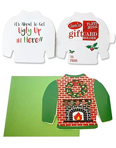 Uncle Bob's Ugly Sweater Musical Christmas Card Gift Card Holder- Fire (Fireplace Ugly Sweater)