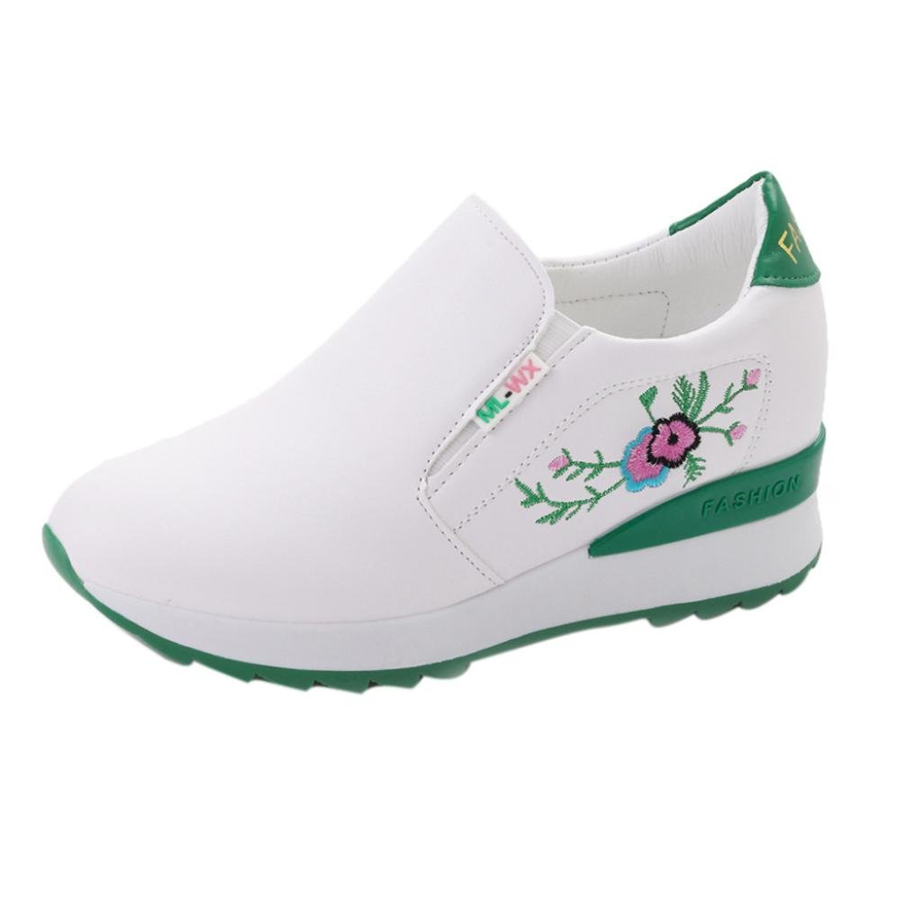 AutumnFall Women's Soft Casual Shoes Breathable Embroidery Thick Bottom Round Head Fashion Shoes (US:5.5, Green)
