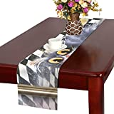 AIKENING Portrait Grey Cat On Chess Table Runner, Kitchen Dining Table Runner 16 X 72 Inch for Dinner Parties, Events, Decor
