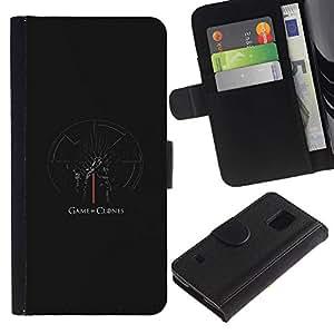 EJOY---Tirón de la caja Cartera de cuero con ranuras para tarjetas / Samsung Galaxy S5 V SM-G900 / --Juego de clones