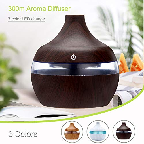 Humidificador Mini - Humidificador de aromaterapia de Primera con Tanque de Agua de 300ml,Humidificador Ultrasónico Silencioso con Niebla Fría, Apagado Automático y Función de Luz Nocturna (marrón)