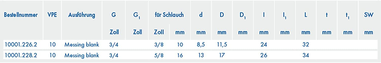 ABA Beul 10001.228.2 Gewinde-Schlauchstutzen Messing