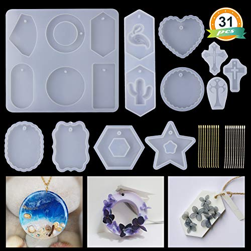 (LET'S RESIN 11Pcs Resin Casting Molds with 20pcs Bead Chains, Big Size Resin Pendant Molds, Silicone Molds for Epoxy Resin, Plaster, Soy wax, etc)