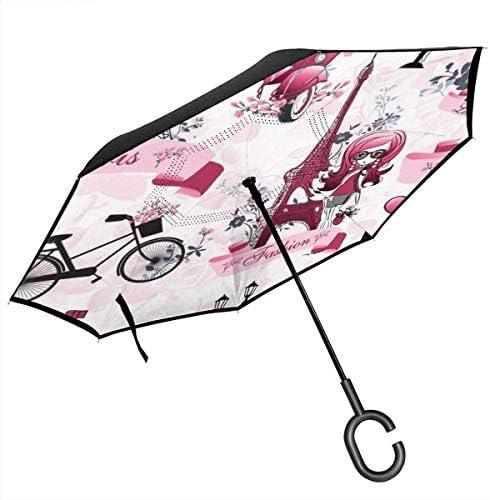 パリエッフェル塔 ユニセックス二重層防水ストレート傘車逆折りたたみ傘C形ハンドル付き