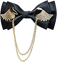 Manoble Men's Adjustable Metal Golden Wings Two Layer Neck Bowtie Bow