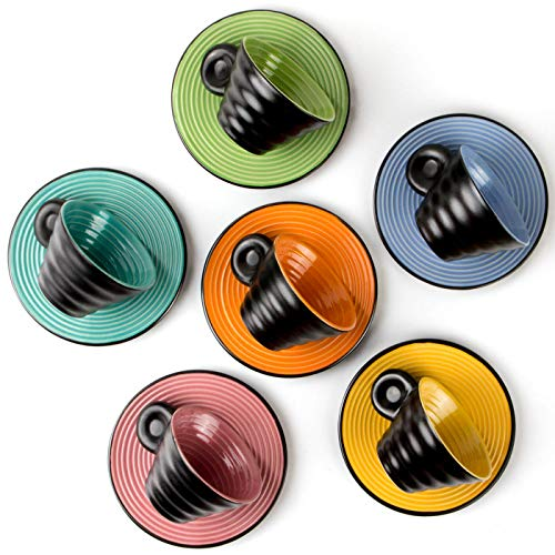 (Orilac Espresso Cups Italian Coffee Mugs 6-Cup w/Saucers, 2.5 Ounces Café Gift Set)