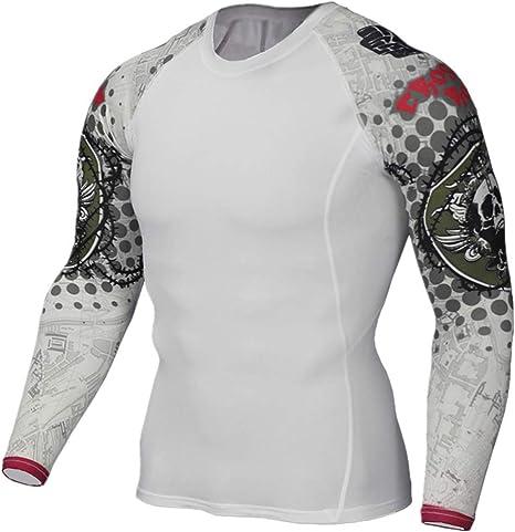 AFYH Camiseta de Compresión de Manga Larga para Hombre, Camiseta Hombre Deportiva Compresión Camisa de Cuello Redondo, para Deportes de Gimnasio, transpiración de Secado rápido.: Amazon.es: Deportes y aire libre