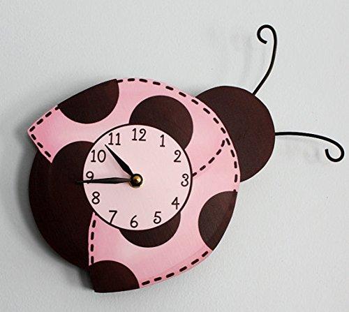 Mod Ladybug Wooden WALL CLOCK for Girls Bedroom Baby Nursery (Mod Ladybug Wall)