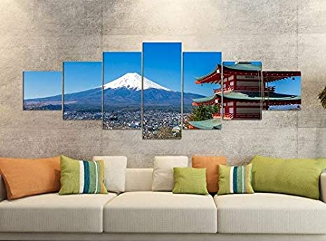 3 Bilder je 70x70cm Bild XXL Panorama Deko Wandbilder auf Leinwand EAUZONE GmbH Japan Berg 220 x 70cm