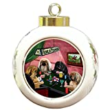 Home of Pekingese 4 Dogs Playing Poker Round Ball Christmas Ornament