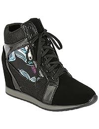 Coshare Women's Fashion Metallic Glitter High Top Wedge Sneakers Hidden Heel Booties