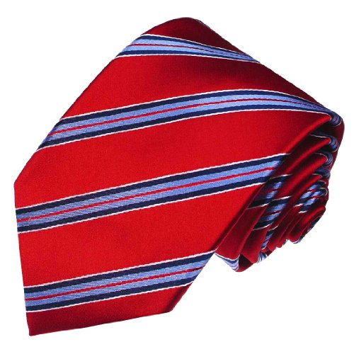LORENZO CANA Luxury Italian 100% Silk Woven Necktie Red Blue White Striped 84234