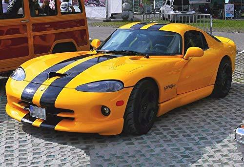 Yilooom Black Striped Dodge Viper Gts - Car Poster Print - Sports Car Photo - Wall Art ()