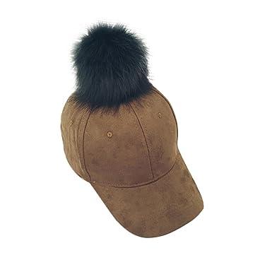 ae00e6c9c58 Webla Women Faux Fur Pompom Baseball Cap Soft Winter Suede Hip-Hop Hats  (Brown)  Amazon.co.uk  Clothing