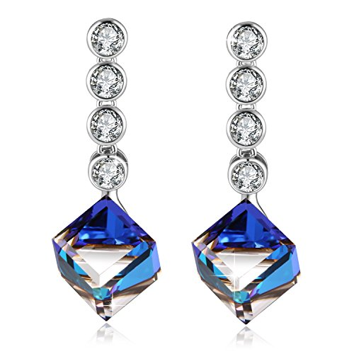 PLATO H Ocean Blue love Heart Drop Earrings with Swarovski Crystals Women Fashion Jewelry Mother's Day Gift Best Gift for Her (Sapphire Earrings Blue Swarovski)