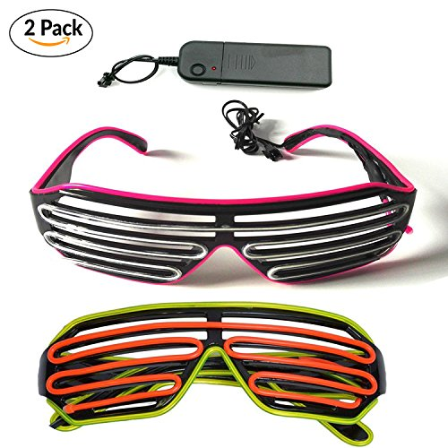 Costume Glasses (2 PCS) by Toysnmore EL Wire Neon Led Glasses Light Up Costumes For Party (Pink/Blue + - Shutter Glowing Shades