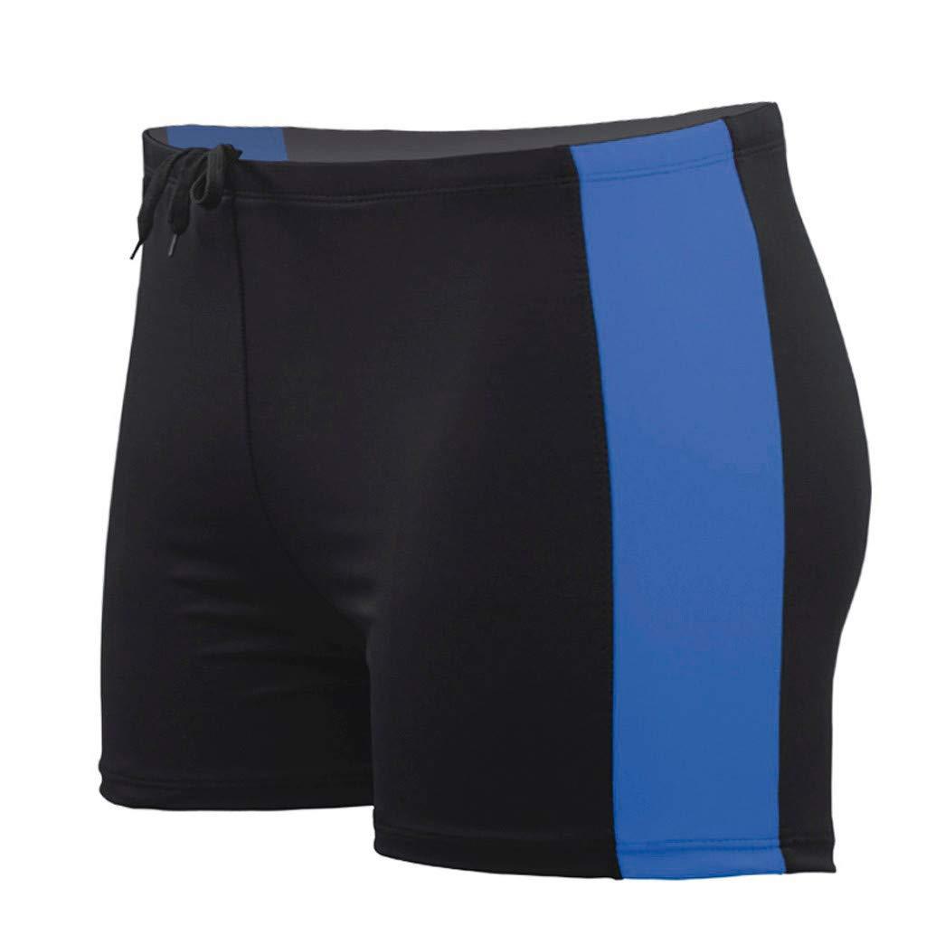 Behkiuoda Men Summer Short Beachwear Swimwear Half Swim Trunks Quick Dry Surfing Print Running Pants Blue