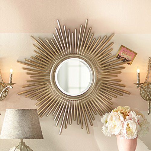 Wall Mirror Decorative Accent Hardy Collection Features a Sunburst Frame in Antique Silver Finish (Accent Sunburst)