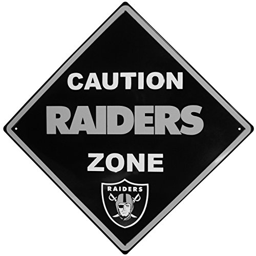 NFL Oakland Raiders Caution Wall Sign Plaque, 14