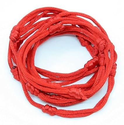 10 bracelets ROUGE à cordon chanceux kabbale faits main pour succès et chance