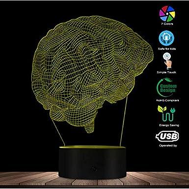 Forma Anatómica Del Cerebro Ilusión Óptica 3D Luz Nocturna Ciencia Médica Órgano Cerebral Luz Mágica Lámpara De Mesa Creativa Iluminación