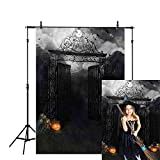 Allenjoy 5x7ft Polyester Halloween Photography Backdrop Dark Gate Cloth Computer-Printed Horror Night Pictoria Background