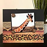 Exotic Animal Print Africa - Magnetic Picture Frame Handmade Gift Present Home Decor by Frame A Memory Size 9 x 11 Holds 5 x 7 Photo - Giraffe Cheetah Print Travel Vacation Safari Trip