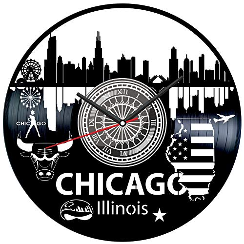 Chicago Illinois Black Vinyl Clock - Vintage Room Kitchen Bedroom Decor - Vinyl Record Gift Idea for Birthday Christmas Hanukkah - Unique Vintage Wall Art - Personalized Home Decoration - - Vintage Illinois Clock