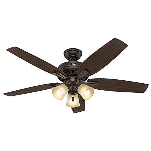 Hunter Indoor Ceiling Fan, with pull chain control – Newsome 52 inch, Premier Bronze, 53317