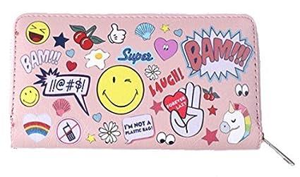 Vincenza Women's Ladies Long Purse Wallet With Emoji Design Comic Book Style Face Summer Fun UK Stock 10 Designs (BLACK) Purse3