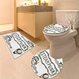 Sketchy Bathroom Toilet mat Set Balloon Antique Cars Design with Quote in Middle Saying Steampunk Toilet Carpet Floor mat Ivory Dark Olive Green