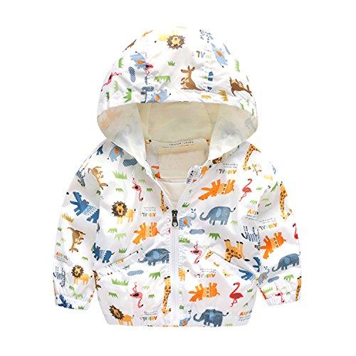 Baby Boys' Girls' Toddler Cartoon Assault Hooded Jacket Zip Print Long Sleeve Windbreaker Coat Animal White Size (Animal Print Zip Jacket)