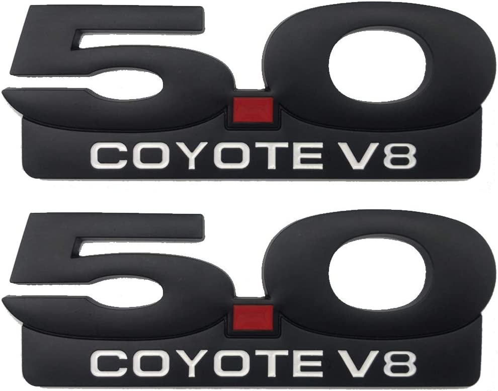 2PCS 5.0L Coyote Emblems for Ford Mustang F150 5.7 Long 3D Aluminum Trim Fender Hook Trunk Badge Decal Stickers Replacement for Ford