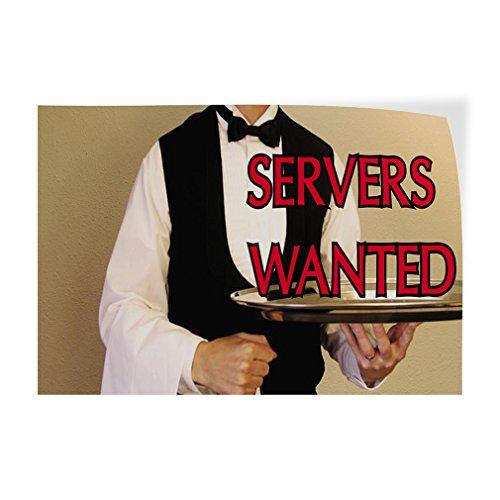 Decal Sticker Multiple Sizes Servers Wanted Business Servers Wanted Outdoor Store Sign White - 52inx34in, Set of 2 ()