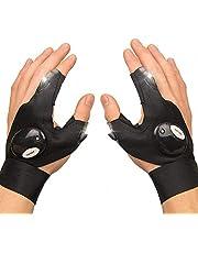 LED Flashlights Gloves, Cool Gadgets for Men Women Kids for Handyman, Fishing, Repair, 1 Pair (Black)