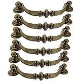 Sofoc 9972529 Régence Lot de 6 Poignées de Porte ou Tiroir de Meuble en Zamak Patiné/ Métal Bronze 9,6 x 0,7 x 2,5 cm